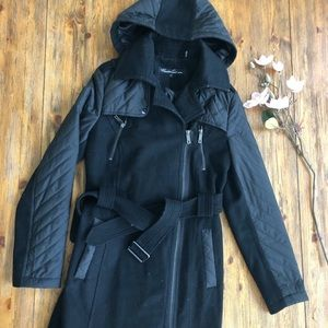 Kenneth Cole Black Quilted Wool Blend Trench